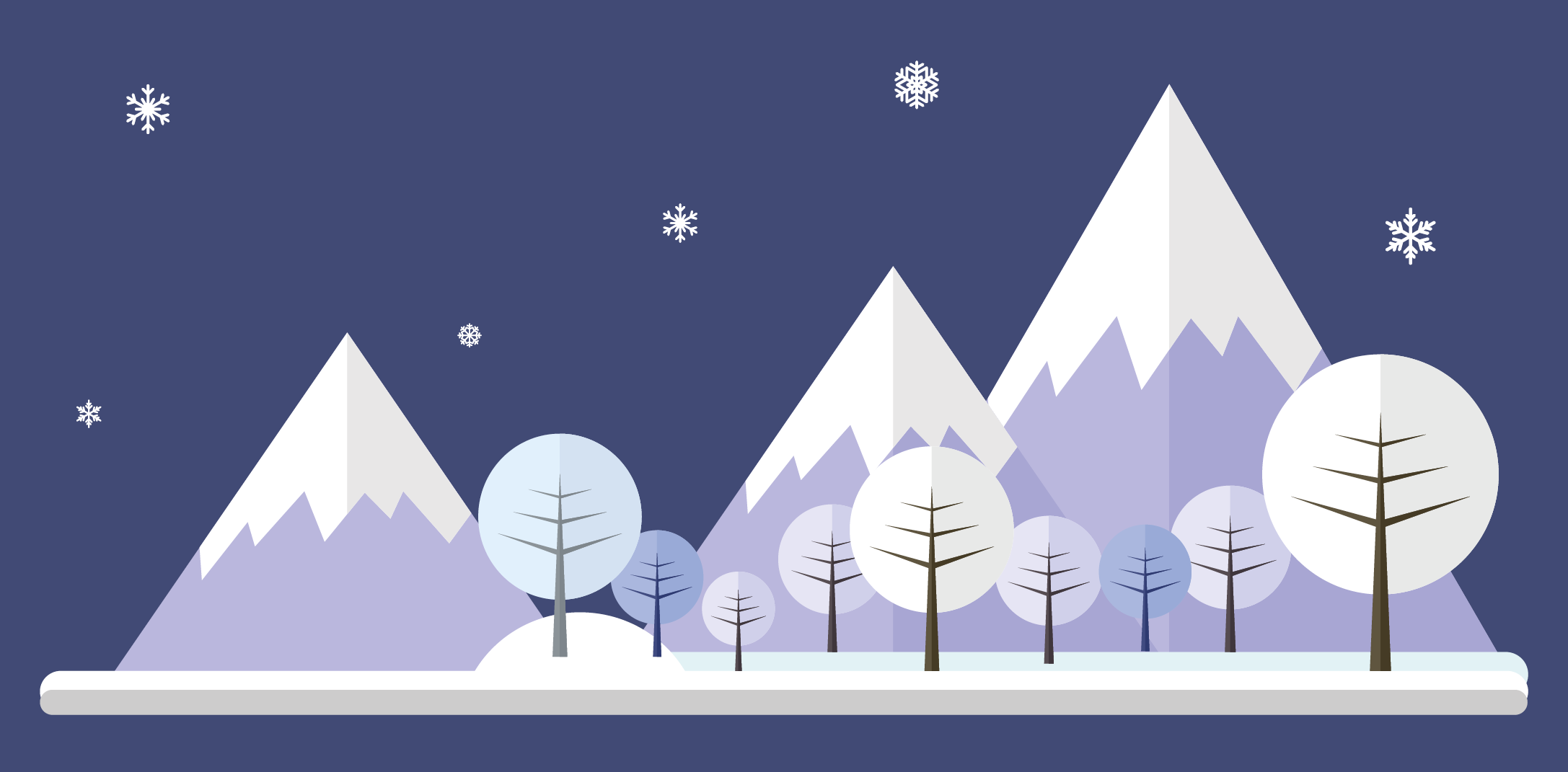 Graphics showing image of snow covered mountains and tress to represent winter months