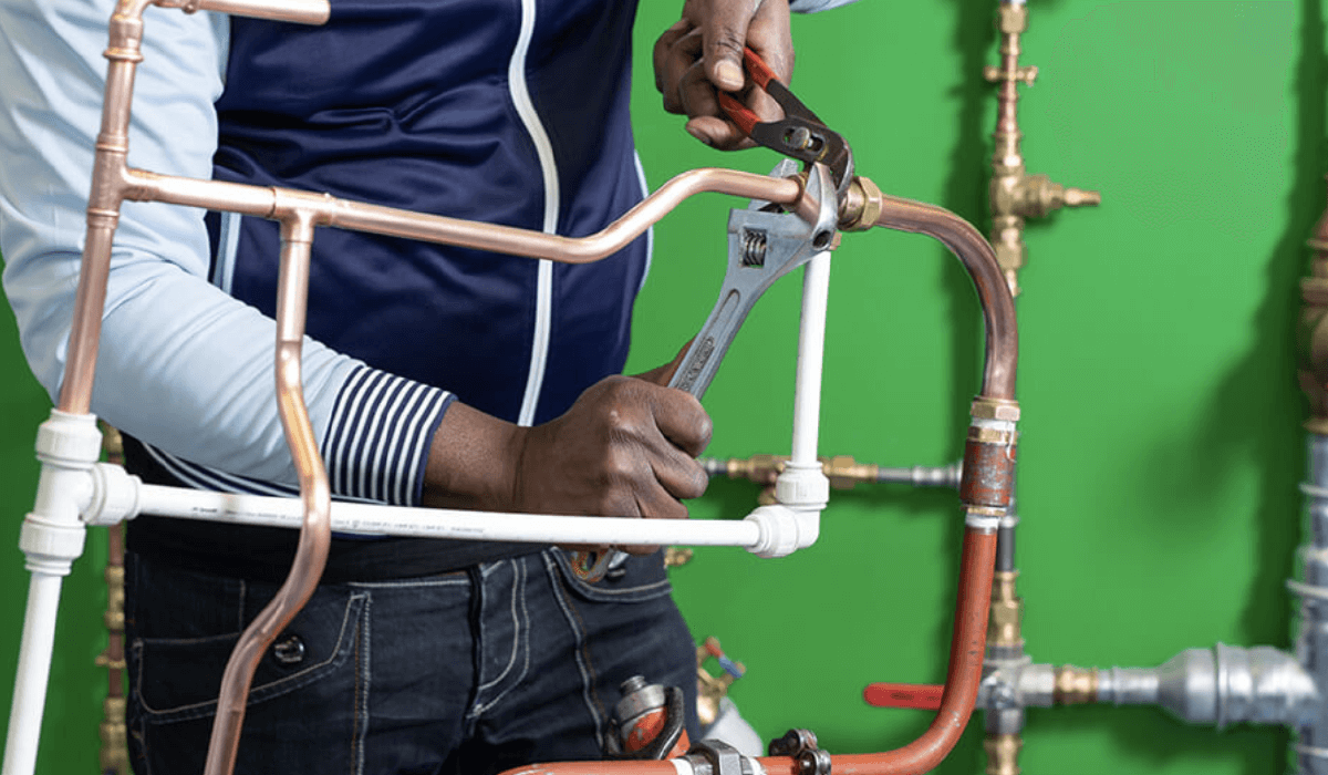 Man with plumbing and gas equipment